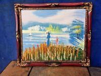 Framed OIL PAINTING Martha's Vineyard Cape Cod Sunset Lake Woman Girl Boat ❤️J8