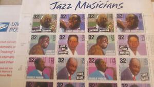 Jazz Musicians 32c Postage Sheet #2983 MNH
