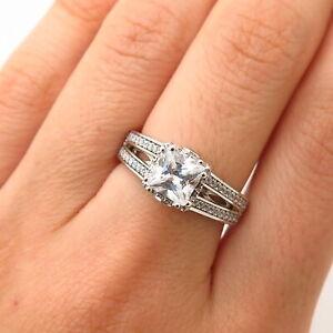 925 Sterling Silver Swarovski Crystal Square Design Engagement Ring Size 7