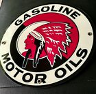 Red Indian Motor Oil Gas gasoline sign ...round