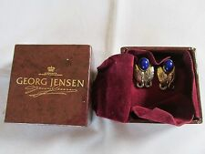 Georg Jensen Denmark Sterling Silver Lapis Lazuli clip on Earrings 108 Boxed