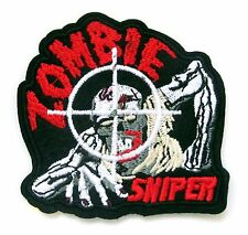 Zombie Sniper Iron On Patch- Embroidered Monster Badge Applique Sew