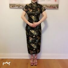 New Luxurious Colourful Summer Flowers Black Chinese Long Dress Cheongsam Qipao