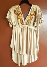 NWT Free People Fiesta Nueve Embroidered Hi- Lo Sand Tunic M Retail $128.00