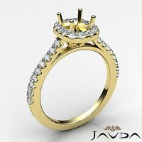 Halo Prong Set Diamond Engagement Cushion 0.35Ct Semi Mount Ring 14k Yellow Gold