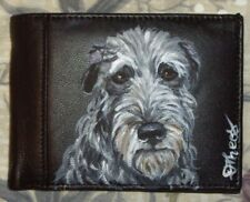 Scottish Deerhound Dog Hand Painted Leather Wallet for Men