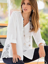 Together @ Kaleidoscope Size 8 White Lace Collar Sides Cotton Shirt TOP Fab £55