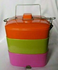 New Mid Century Modern Stackible Picnic Tricolor Plastic Lunch Box With Handle