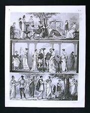 1849 Bilder Print Ancient Greece Greek Costume Dress Togas Maidens Youths Poet