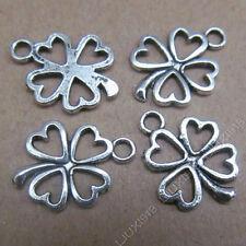20pc Tibetan Silver Heart Clovers Pendant Charms Findings Jewellery Craft PJ500