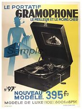 Vintage 1930's Gramophone Pubblicità A4 poster stampa