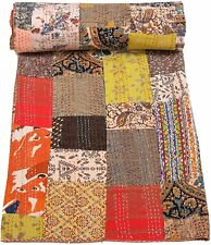 Kantha Quilt Handmade Indian Home Decor Cotton Bedspreads Blanket Throw Queen