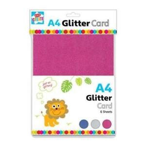 A4 6 Sheets of Premium Glitter Card Assorted Colours Scrapbook Crafts Xmas Kids
