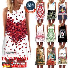 DE Damen Locker Longtop Longshirt BOHO Sommerkleid Casual Strandkleid Minikleid