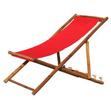 KMH® Bambus Klappliege rot Liegestuhl Gartenliege Relaxliege Wellnessliege Holz