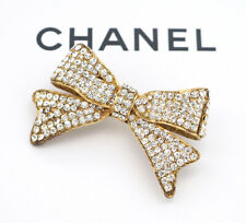 CHANEL Bow Ribbon Rhinestone Brooch Gold Tone Pin Vintage Crystal v1299