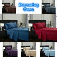 Dreaming Casa 4 Piece Deep Pocket 1800 Count Bed Sheet Set King Queen Size D2