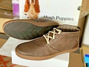 Hush Puppies men's fashion boot Dark Brown soft Leather  Size 11