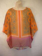 Clover Canyon Chiffon Pink & Orange Tunic Top Blouse Shirt Size S Small