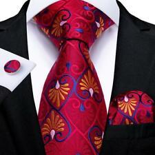 USA DiBanGu Red Silk Novelty Tie Set Mens Necktie Hanky Cufflinks Wedding Party