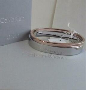 CALVIN KLEIN STAINLESS STEEL & ROSE GOLD PLATED 2 BANGLES SET BNWT BOX RRP £149
