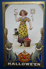 Antique HALLOWEEN POSTCARD with BLACK CATS PUMKIN & WOMAN with SNAKE