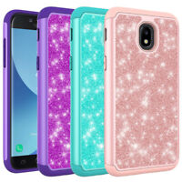 For Samsung Galaxy J3 2018 /J3 Star /J3 Achieve Glitter Bling Hybrid Case Cover