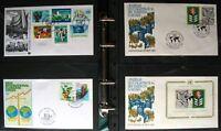 s464) UNO Wien Genf NY   450 FDC + Messekarten + GA 1979 - 2013 Slg in 3 Alben
