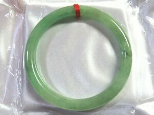 """57mm NATURAL Green Jade Round Chinese Bangle Bracelet 2-1/4"""" #A198"""