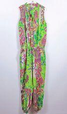 INDIAN Women's Green Paisley Sleeveless Romper Jumpsuit Playsuit sz L/XL BC90