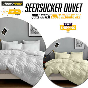 Luxury Seersucker Duvet Cover Set with Pillowcase Bedding Sets Double King Size