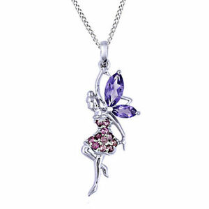 Amethyst & Tourmaline Fairy Pendant 14k White Gold Over Sterling Silver