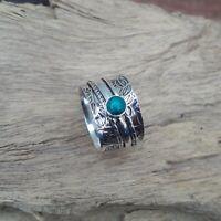 Turquoise Solid 925 Sterling Silver Spinner Meditation Statement Ring V867
