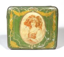 Vintage French Candy Tin Box, Woman in Traditional Costume of Alsace, Landscape