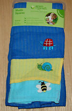 Green sprouts 3 pack embroidered Muslin squares turtle snail bee NWT
