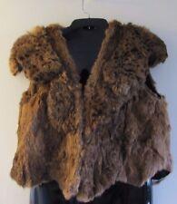 Women M Real Fur Raccoon Vest Waistcoat Brown Fashion 2 Front Hooks Cap Sleeves