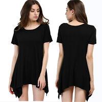 Women's Short Sleeve Asymmetrical Hem Tunic Top Knit T-Shirt Dress Size L