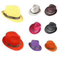 Women Summer Sun Trilby Straw Hat Fedora Hats Cap Wide Brim Beach Caps