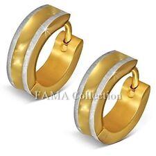 FAMA Stainless Steel Gold IP 2tone Satin Finish Edge Hoop Huggie Earrings