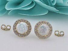 14K Yellow Gold, Opal & CZ Round Stud Earrings, New