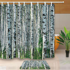 Birch Tree Forest Bathroom Shower Curtain Waterproof Fabric 71*71 inches & Hooks