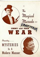 C1940s Jimmy & Jean Wear Magic Brochure magician Illusionist deception Lyceum