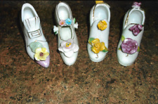 Four Beautiful Antique Collectible China Shoes With Flowers