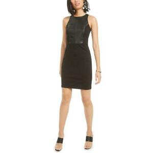 Bar III Womens Faux Leather Body Con Party Cocktail Dress BHFO 2695
