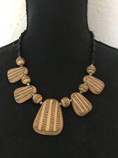 Vintage Geométrico Tribal Étnico Mostaza Negro Joyería Collar