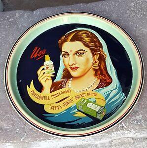 Vintage Scarce Satya Jiwan Adv. Liho Prin Tin Serving Tray- Mint