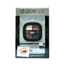W7 Cosmetics Brow Bar - Eyebrow Stencil Kit Make Up Powder, Comb & Brush