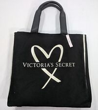 VICTORIA' SECRET jrs/wms black gold logo canvas overnight bag tote bag  NWT