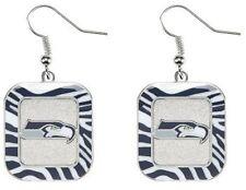 Seattle Seahawks NFL Team Color Zebra Stripes Silver Dangle Earrings