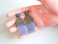 Antike 925 Silber Ohrstecker Ohrringe Markasiten+Lavendel Jade? 22 g/5,8x2,5 cm